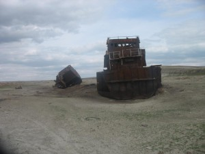 Shipwrecks on the beds of the former Aral Sea, Kazakhstan