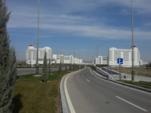Empty streets in new part of Ashgabat, Turkmenistan
