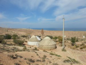 Yurts with view over Lake Issyk Kul, Kyrgyzstan