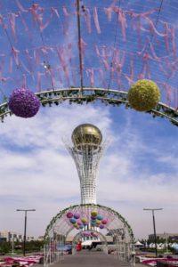 Centraal Astana met uitzicht op de Baiterek Toren