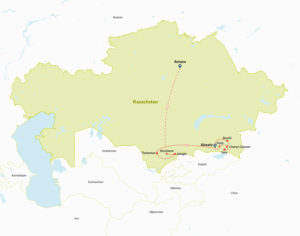 Tour map of route in Kazakhstan