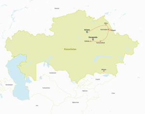 Route map of tour in Kazakhstan