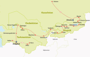 Route Map of tour in Central Asia